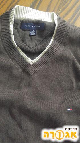 סוודר מדיום טומי הילפיגר חום לגבר