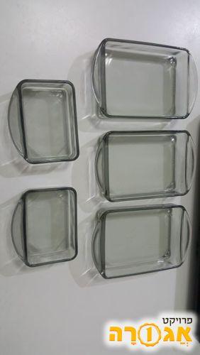 כלי אירוח מזכוכית אפורה