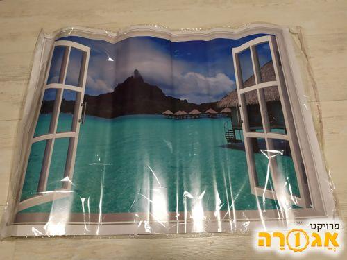 פוסטר מדבקה נוף אקזוטי מחלון