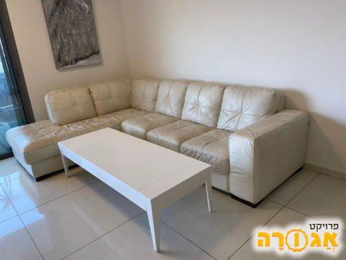 סלון+שולחן לבן אפוקסי