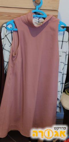 שמלה ורודה מידה 38 ללא שרוולים