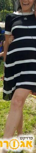 שמלת הריון לקיץ פסים שחור לבן