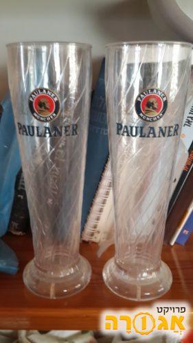 2 כוסות בירה פאולנר גבוהות