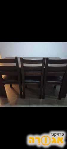 פינת אוכל עץ מלא+4 כסאות