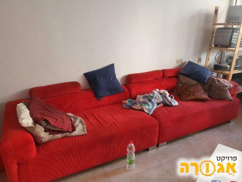 ספה אדומה + שזלונג 3.20 מ'