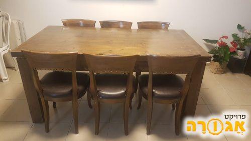 שולחן פינת אוכל + 6 כיסאות